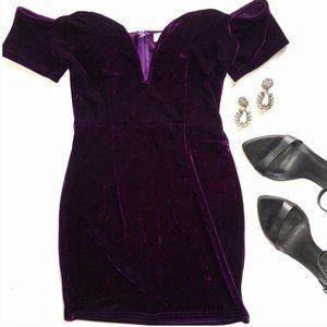 Purple Off Shoulder Velvet Mini Dress Size S